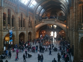 crowds inside the Natural History Museum in London