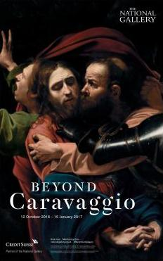 "poster of the exhibition ""Beyond Caravaggio"" at the National Gallery 